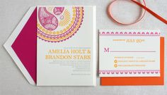 Indian Letterpress Wedding Invitation by Inkprint Letterpress