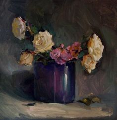 Abandoned roses day I, oil on card,
