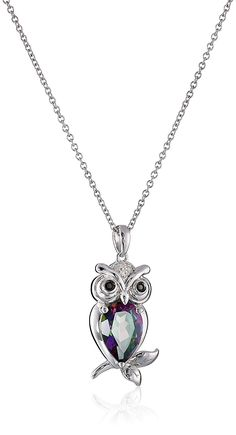 Sterling Silver with Mystic Fire Topaz, Black Diamond, and White Diamond Owl Pendant Necklace, 18 Black Diamond Jewelry, Diamond Gemstone, Owl Pendant, Diamond Pendant Necklace, Emerald Pendant, Mystic Fire Topaz, Topaz Jewelry, Silver Diamonds, Jewelry Necklaces