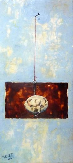 """Another of my own encaustics, this one completed today.  I LOVE it!  It's called """"A Good Strong Knot""""."""