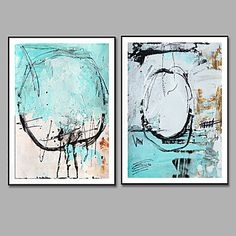 【今だけ☆送料無料】現代 アートなモダン キャンバスアート アートパネル 抽象画2枚で1セット 枠 抽象 丸 楕円 ブルー【納期】お取り寄せ2~3週間前後で発送予定