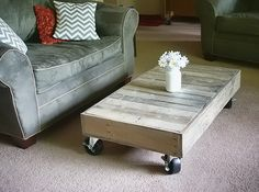 Our last one for you is this cart style coffee table made from old cedar fence boards, by Kristi from Addicted to Decorating. I am amazed at what can be made from repurposed materials!