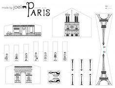 Fun for a city unit! Made by Joel Travel Size Paper City Paris Template Paris Party, Paris Theme, Mini Paris, Printable Designs, Printables, Paris Monuments, Paris Crafts, Image Paris, World Thinking Day