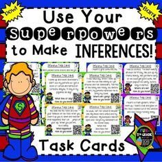 This inference game is a fun and engaging way to practice inferring and can be used with the included game-board or use the task cards included any way you wish.  Perfect for literacy centers, small groups, whole group, or early finishers! Students will practice making inferences using these cards with self-checking QR codes.
