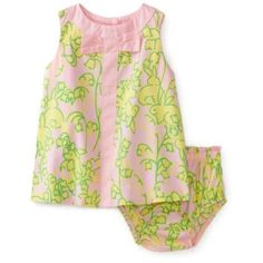 Lilly Pulitzer Baby-girls Newborn Shift Dress With Bow, Lillys Pink Hopping Down The Bunny Trail, 3-6 Months $68.00