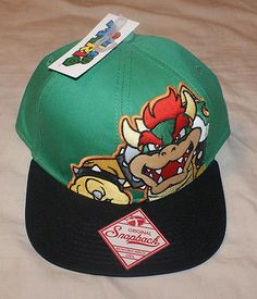 fea231df609 NEW Official Nintendo BOWSER HAT Super Mario Snapback Mens Cap King Koopa  King Koopa