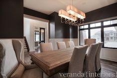 dark gray dining room paint, slipcovered RH chairs
