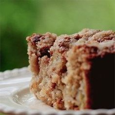 Omas Rhubarb Cake - Allrecipes.com- doubled 9 6 stalks of rhubarb, subbed 1 cup of almond flour in, 1 tsp of white pepper, added sliced almonds to the crumble. Used brown sugar for topping and 1/2 of batter sugar was brown sugar.