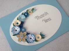 Quilled thank you card, handmade, blue flowers