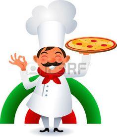 pizza cartoon: Chef holding italian original Pizza. Illustration