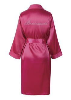 94079c9443 Wedding Day Rhinestone PINK Satin Wedding day Bathrobe Kimono Dressing gown  PINK Satin