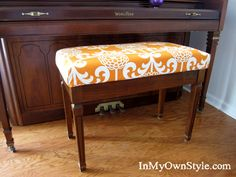Quick and Thrifty way to make a cushion for a bench and cover it with fabric.this one attaches directly to the underside of the bench top. Not sure I want to staple into my bench.