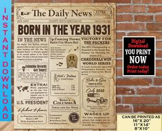 1931 Birthday NEWSPAPER Poster for 90th Birthday | 1931 Facts for 90th Adult Birthday | AUTHENTIC Look Printable Poster | Instant Download Happy 80th Birthday, 90th Birthday Parties, Birthday Gifts For Her, Birthday Stuff, Birthday Ideas, 60th Birthday Decorations, Birthday Crafts, Birthday Signs, Retro