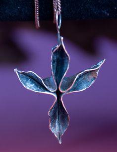 Fold Formed Copper Flower Pendant