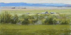 "Ranch Buildings on the Texas Plains by Jeri Salter Pastel ~ 15"" x 30"""