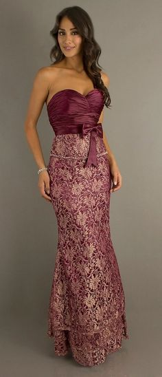 Long Sexy Burgundy Metallic Lace Formal Dress Tight Fit Lace Bolero $224.99