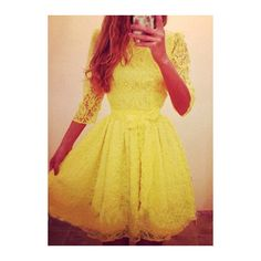 Rotita Bow Embellished Yellow Lace Skater Dress ($22) ❤ liked on Polyvore featuring dresses, vestidos, yellow, knee-length dresses, yellow a line dress, three quarter sleeve lace dress, yellow skater dress and knee length lace dress