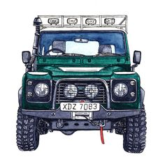 Land Rover Defender 90-Watercolour Illustration