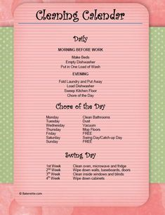 Getting Organized: Cleaning Calendar