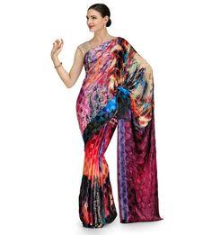 Multi Color Crepe Jacquard Saree | Fabroop USA