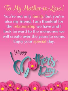Happy Mother's Day Wishes & Messages for Mother in Law - BenFeed Birthday Message For Mother, Mother In Law Birthday, Birthday Card Messages, Mother Day Message, Wishes Messages, Birthday Greeting Cards, Birthday Greetings, Aunt Birthday, Birthday Bash