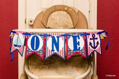 Nautical Birthday Party Banner High chair Banner by Craftytude