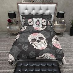 Pink Rose Sugar Skull Duvet Bedding Sets