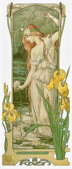 ideas for vintage flowers drawing art nouveau alphonse mucha Art Nouveau Mucha, Alphonse Mucha Art, Art Nouveau Poster, Art Nouveau Tattoo, Art Nouveau Flowers, Tattoo Art, Design Art Nouveau, Art Design, Art And Illustration