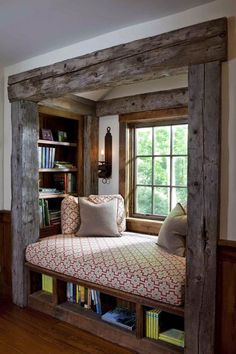 Rustic Rough Hewn Framed Window Seat