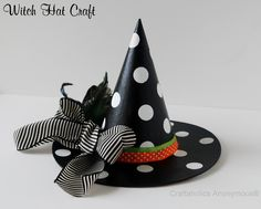 Love this polka dot witch hat! This is a fun idea for the girls halloween costumes to do it on a hat they can actually wear. Homemade Halloween, Halloween Crafts For Kids, Halloween Boo, Halloween Costumes For Girls, Diy Halloween Decorations, Holidays Halloween, Witch Costumes, Halloween Witches, Happy Halloween