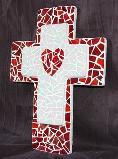 Mosaic Red Heart Cross by StashasCreations on Etsy