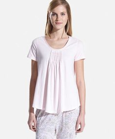 Shirt with tuck detail, null£ - null - Find more trends in women fashion at Oysho . Sleepwear & Loungewear, Nightwear, Lounge Wear, Tunic Tops, V Neck, Clothes For Women, Lady, Summer, T Shirt