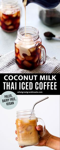 Wonderfully sweet and creamy paleo vegan coconut milk Thai iced coffee! The condensed coconut milk is sweetened with maple syrup and flavored with cardamom powder and almond extract. Such a yummy and refreshing way to start the morning! #paleo #vegan #dairyfree #icedcoffee #coffee Coconut Milk Drink, Condensed Coconut Milk, Coffee With Coconut Milk, Healthy Coffee Drinks, Yummy Drinks, Smoothie Drinks, Smoothie Recipes, Drink Recipes, Allergy Free Recipes