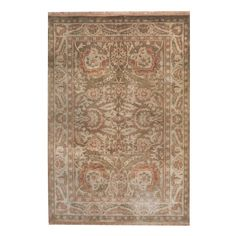 Herat Oriental Indo Hand-knotted Oushak Brown/ Beige Wool Rug (6'9 x 8'9)