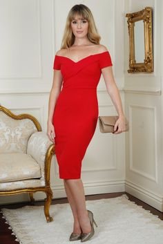 Andrea Red Off the Shoulder Dress