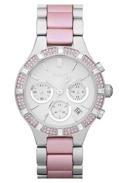 DKNY Two Tone Bracelet Watch in Pink.