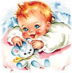 Sweet vintage baby illustration