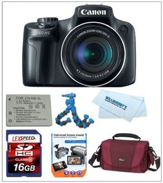 Canon PowerShot SX50 HS 12.1 MP Digital Camera with 50x Wide-Angle Optical Image Stabilized Zoom + NB-10L Battery Pack + Lowepro Camera Case + LexSpeed 16GB SDHC Class 10 Memory Card + Card Reader + Flexpod + Cleaning Kit by Canon. $479.00. The PowerShot SX50 HS employs a Canon 12.1 Megapixel CMOS sensor, which delivers state-of-the-art imaging performance and is optimized for use in compact cameras. Utilizing a sophisticated light-capturing design, it provides ...