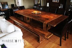 Check out our extensive library of beautiful custom reclaimed wood benches online or make an appointment with our mobile showroom! Reclaimed Wood Benches, Rustic Bench, Reclaimed Wood Furniture, Plank Table, Plumbing Pipe Furniture, Repurposed Wood, Salvaged Wood, Wood Planks, Wood Design