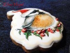"""Купить пряник новогодний""""Птичка-невеличка"""" - пряник расписной, пряник имбирный, пряники ручной работы, пряник"""