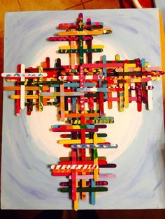 "Kindergarten Art Auction project - kid painted Popsicle stick crosses on hand painted 16"" X 20"" canvas"