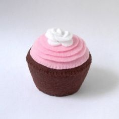 Pink Frosted Chocolate Plush Cupcake with White by cherylasmith
