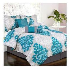 Teal+Queen+Comforter+Set   Home & Garden > Bedding > Bed-in-a-Bag