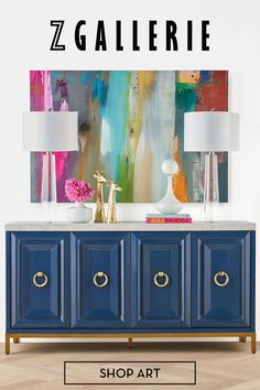 Bold hues make for the perfect backdrop.  Dining Room Furniture, Home Furniture, Antique Furniture, Console Table Styling, Blue Rooms, Furniture Makeover, Decorating Your Home, Painted Furniture, Office Decor