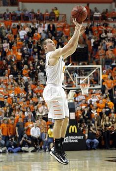 Oklahoma State's Phil Forte (13) shoots during the Bedlam men's college basketball game between the Oklahoma State University Cowboys and the University of Oklahoma Sooners