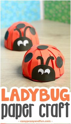 ladybug paper craft - bug craft -kids craft - acraftylife.com bug craft for kids - spring craft insect craft #crafts #kidscraft #craftsforkids #spring