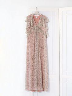 Robe longue en soie à imprimés floraux