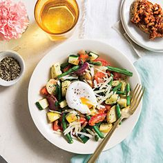 Vegetable Hash with Poached Eggs | Cooking Light #myplate #protein #veggies #dairy