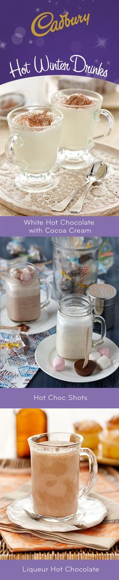 Ward off winter chills with these heavenly hot drinks, perfect for any family gathering. #bakeitcadbury #baking #chocolate #dessert #hotchocolate