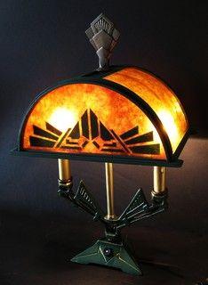 1920s Deco Lamp with custom mica shade - mediterranean - table lamps - other metro - by Harris House Antique Lighting